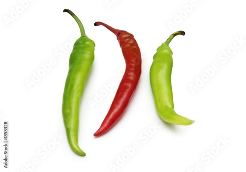 red and green chili peppers isolated on white