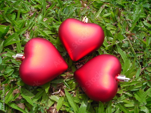 closeup of three hearts