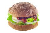 hamburger isolated on white poster