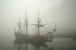 old sailship (pirate?) in the fog