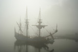 old sailship (pirate?) in the fog poster