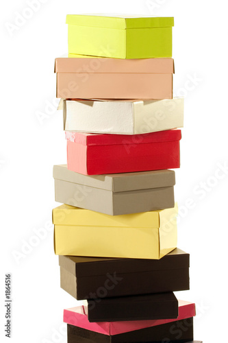 stack of colorful boxes