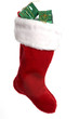 bright red christmas stocking with presents