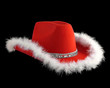christmas cowboy hat with fluffy rim
