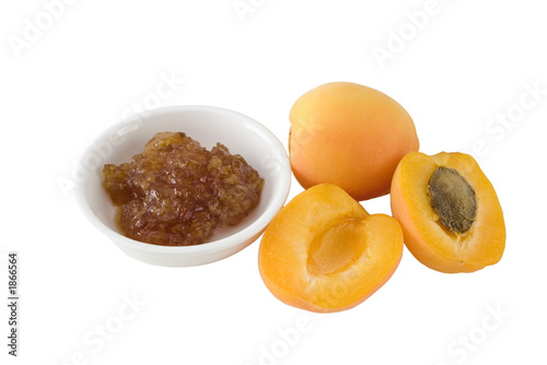 apricots and apricot jam on white