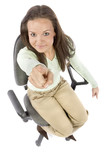 pointing woman sitting on the office chair