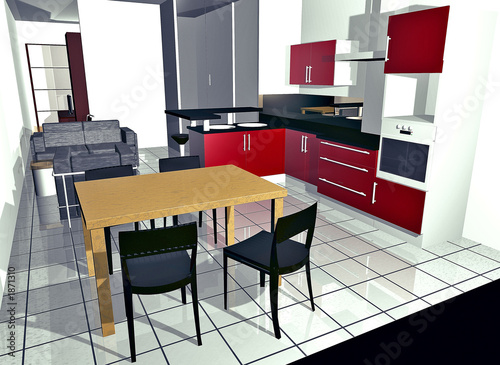 Cuisine moderne design en 3d stock photo and royalty for Cuisine 3d design bromont