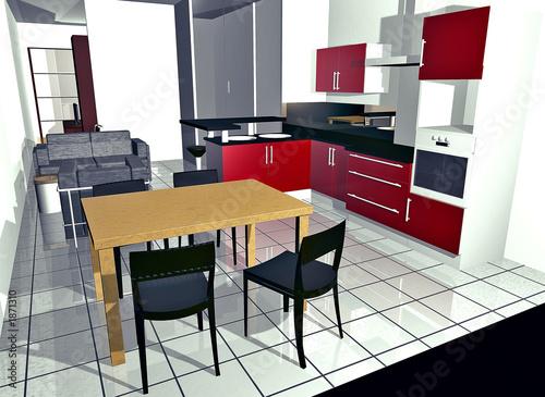 cuisine moderne design en 3d