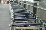 row of luggage carts poster
