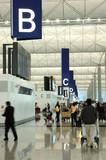 interior scene in airport poster