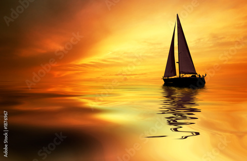sailing and sunset - 1876967