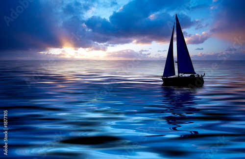 Staande foto Zeilen sailing and sunset