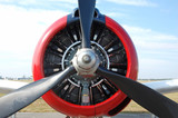 front view of retro airplane propeller poster