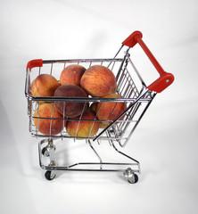 shopping cart of peaches