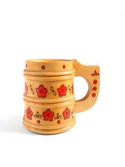 wooden mug for beer over white background