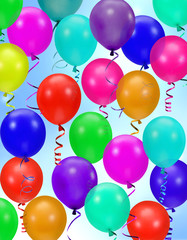 colorful party balloons background - rainbow ballo