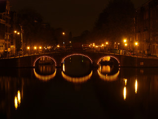 canals of amsterdam by night