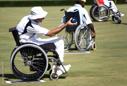 wheel chair lawn bowls for disabled persons (men)