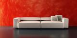 modern sofa 3d rendering poster