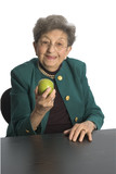 woman eating an apple poster