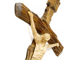 wooden cross with jesus christ poster