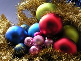 brilliant multi-color balls on a christmas tree poster