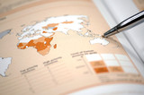 financial and statistic report on the world map