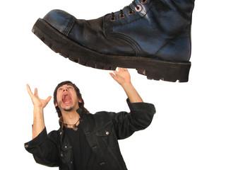 man under boot