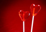 two heart shaped lollipops for valentine poster