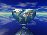 3d render of the heart shaped planet earth poster