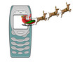 cellphone with santa sleigh