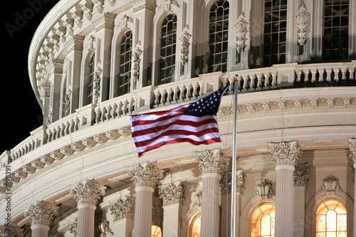 Leinwanddruck Bild flag at capitol