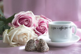 valentine coffee with candies and roses poster