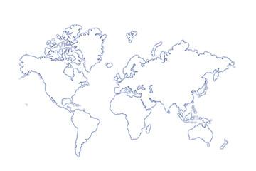 monde en relief bleuté