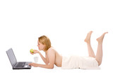 spa girl after shower with apple work on laptop poster