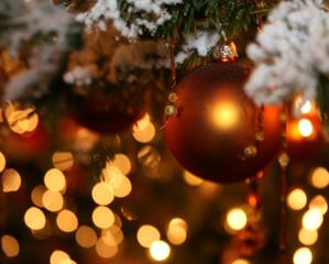 gold christmas bulb on tree