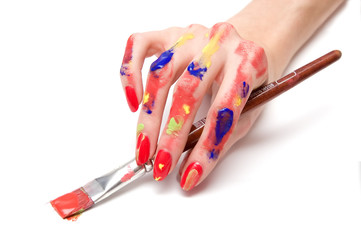 colored hand with a paintbrush