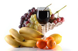 different fruits and glass of wine poster
