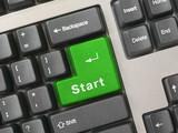 keyboard - green key start poster