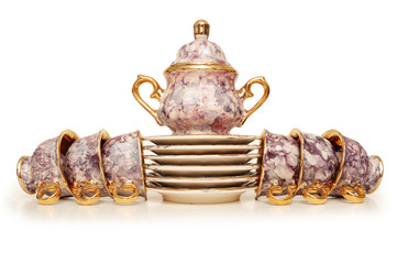 tea set with six cups isolated on white