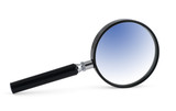 magnifying glass with blue inner shadow poster
