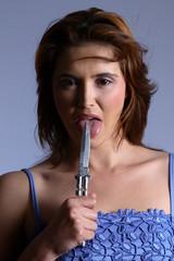 model licking knife