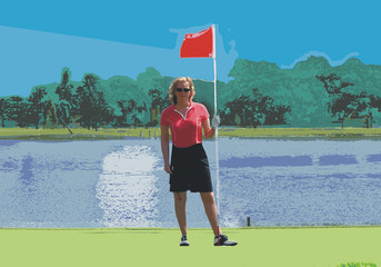 frau auf dem putting green - illustration