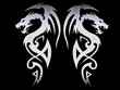 Leinwanddruck Bild - tribal dragons - steel