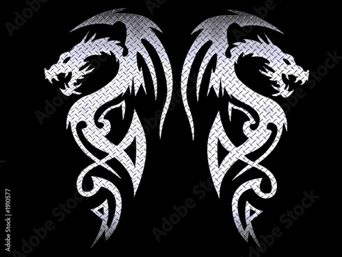 Leinwanddruck Bild tribal dragons - steel