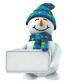 3d snowman with sign