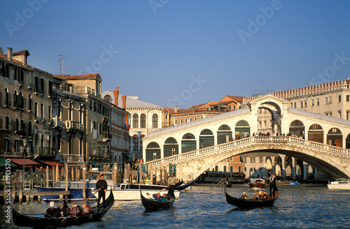 Keuken foto achterwand Venice Venedig, Rialtobrücke, Canal Grande, Gondeln, Copy space