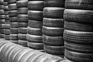 heap of old car tyres
