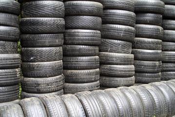 heap of car tyres