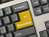 keyboard - golden key success poster
